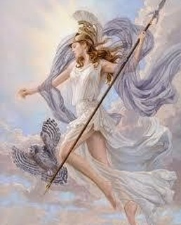 art depicting Greek goddess Athena with helmet and spear