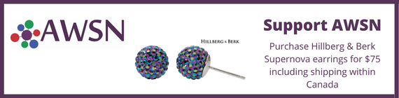 Support AWSN purchase Hillberg & Berk Supernova earrings for $75 including shipping within Canada