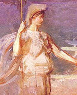 art depicting Roman goddess Minerva  with helmet and spear